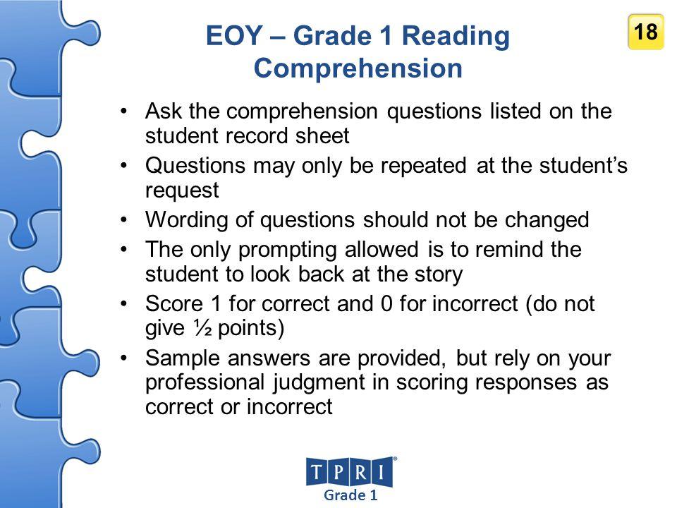 EOY – Grade 1 Reading Comprehension