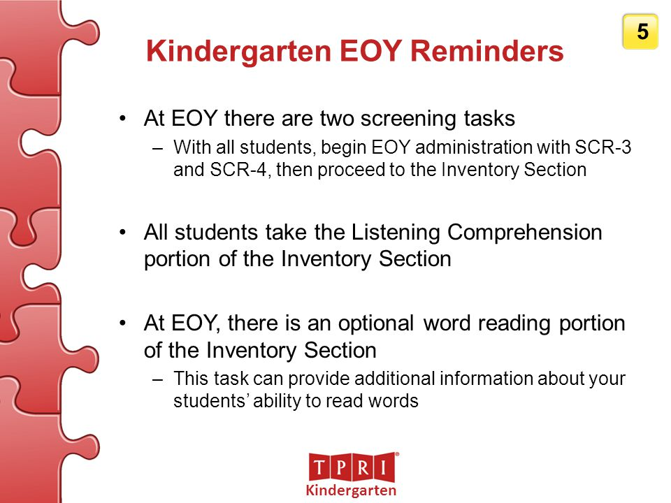 Kindergarten EOY Reminders