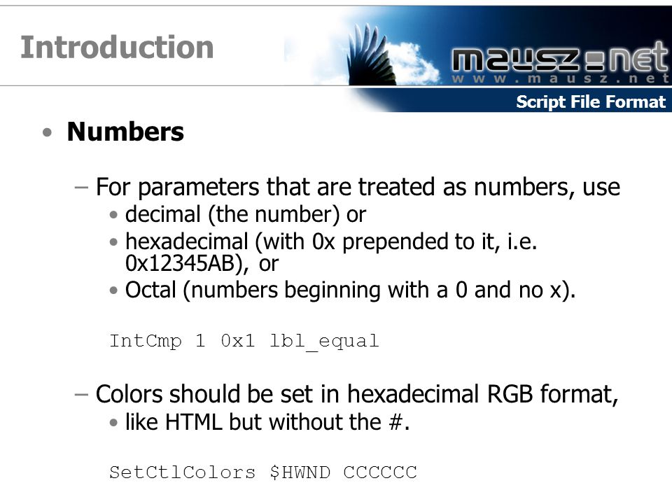 Introduction Numbers For parameters that are treated as numbers, use
