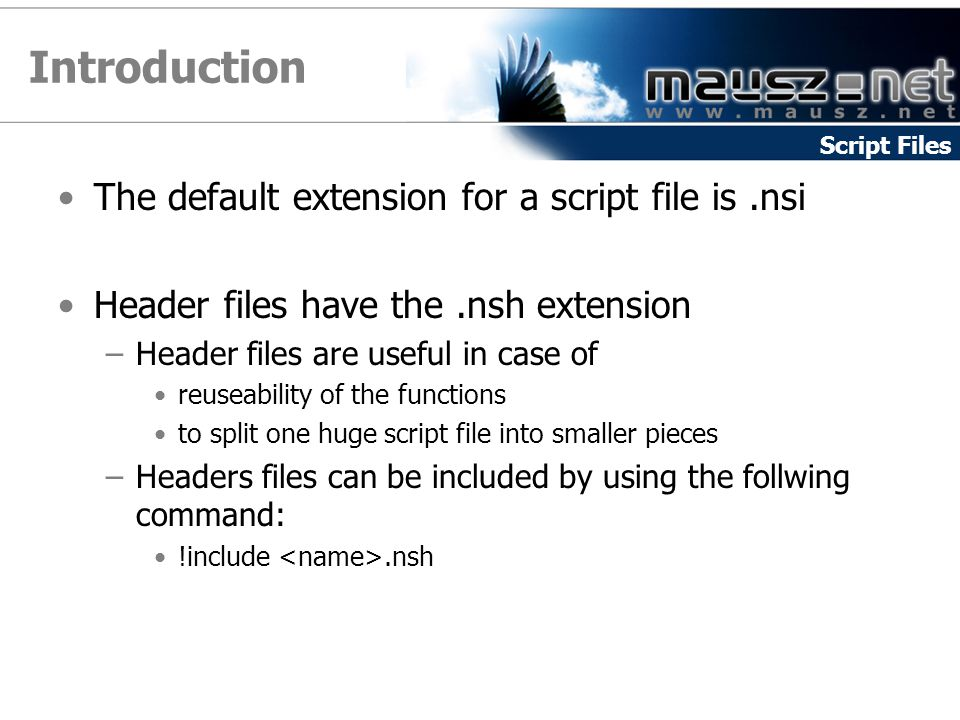 Introduction The default extension for a script file is .nsi