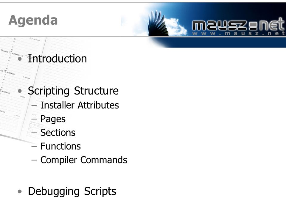 Agenda Introduction Scripting Structure Debugging Scripts