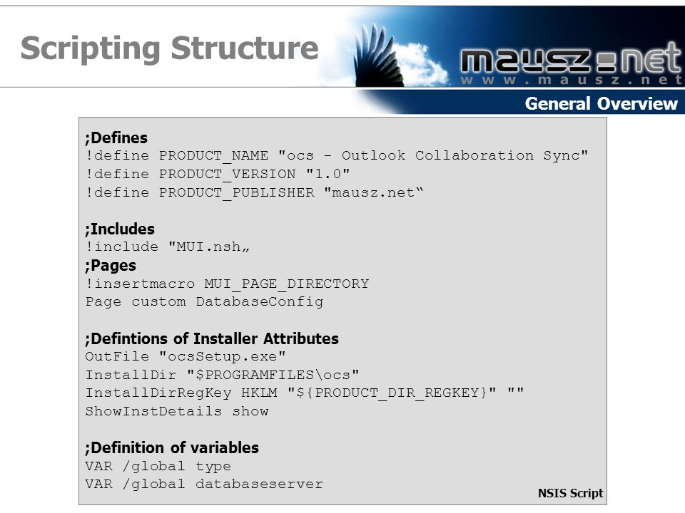 Scripting Structure General Overview ;Defines