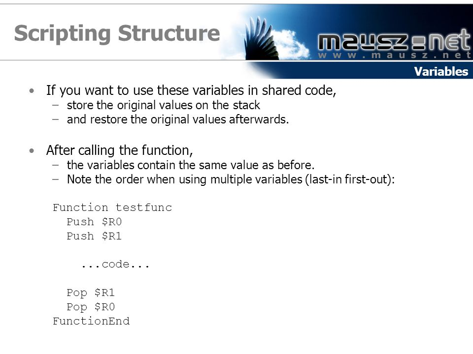Scripting Structure If you want to use these variables in shared code,