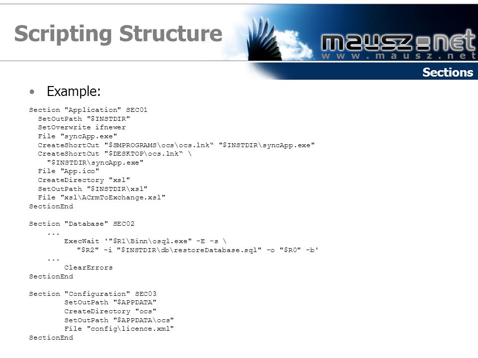 Scripting Structure Example: Sections Section Application SEC01