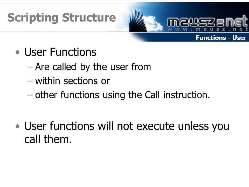 Scripting Structure User Functions