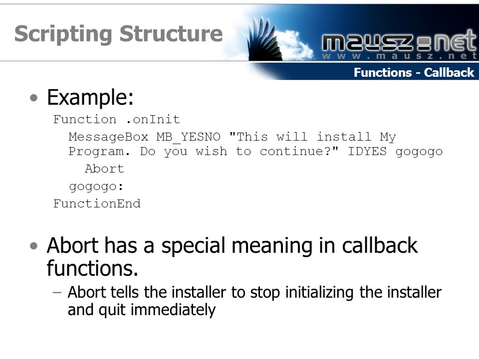 Scripting Structure Example:
