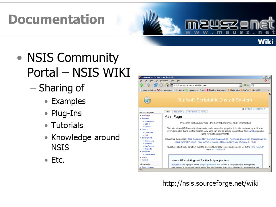 Documentation NSIS Community Portal – NSIS WIKI Sharing of Examples