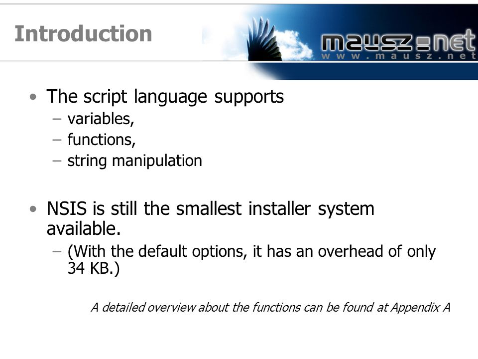 Introduction The script language supports