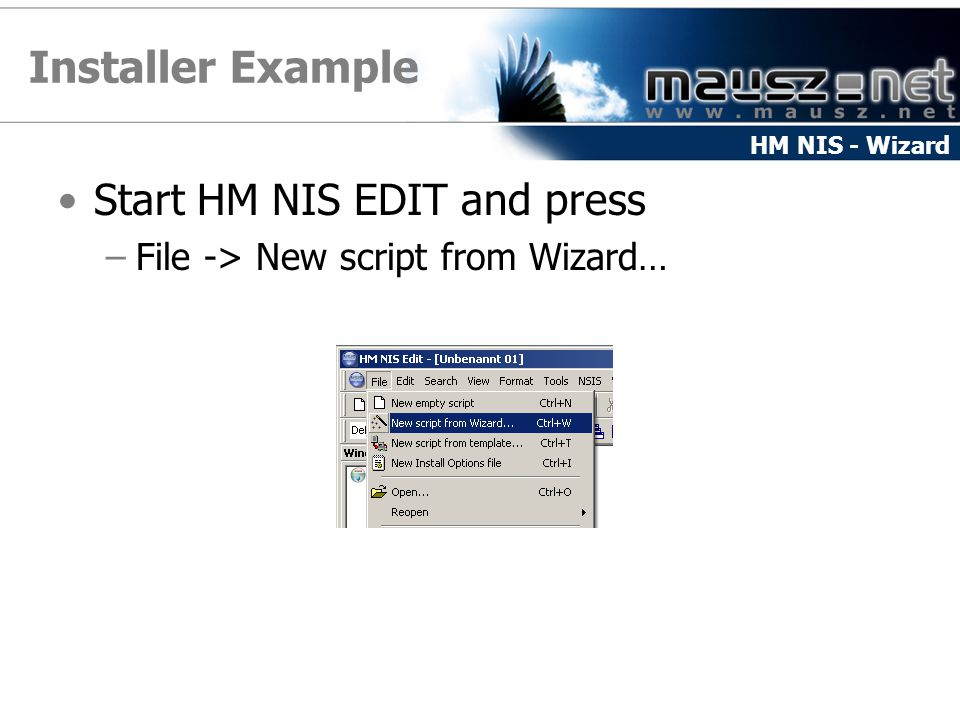Installer Example Start HM NIS EDIT and press