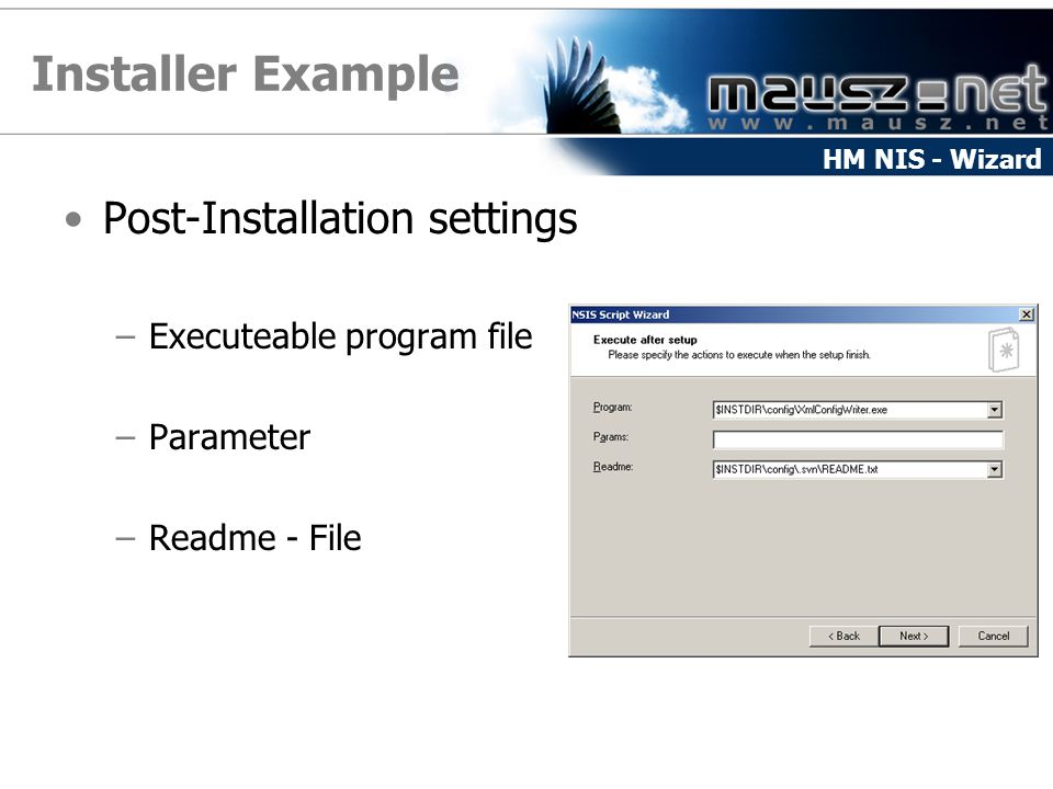 Installer Example Post-Installation settings Executeable program file
