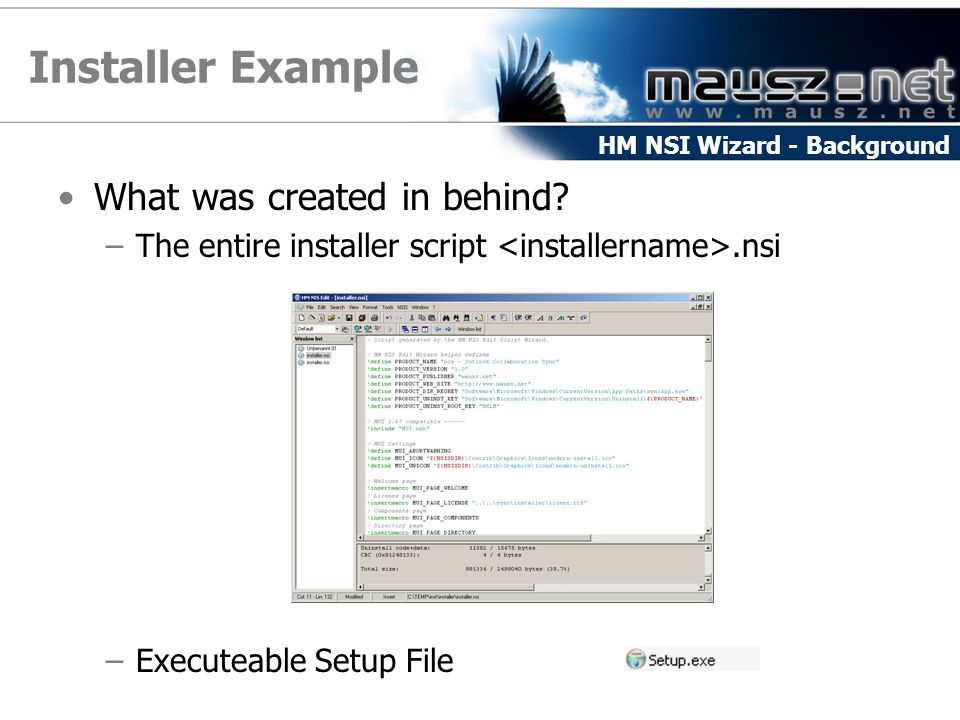 Installer Example What was created in behind
