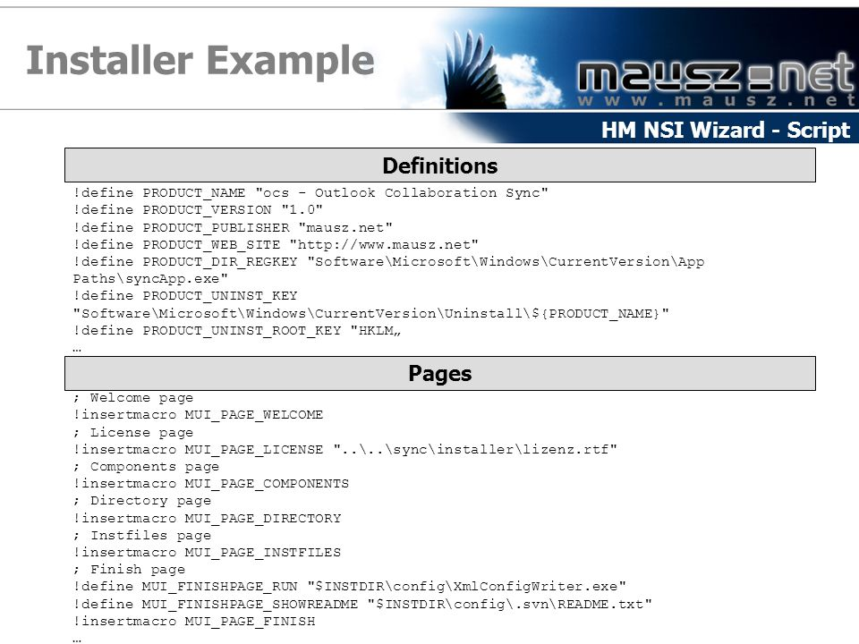 Installer Example HM NSI Wizard - Script Definitions Pages