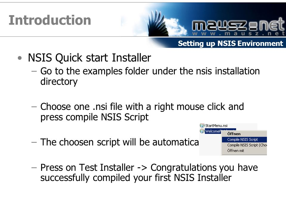 Introduction NSIS Quick start Installer