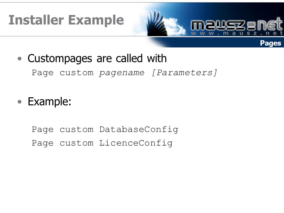 Installer Example Custompages are called with Example: