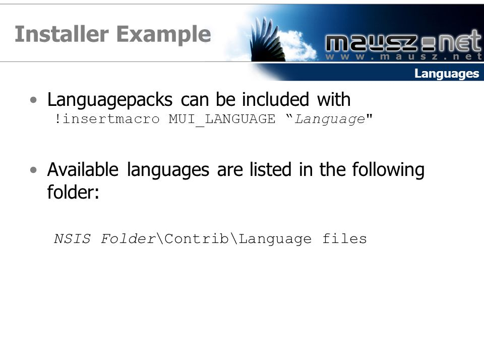 Installer Example Languagepacks can be included with