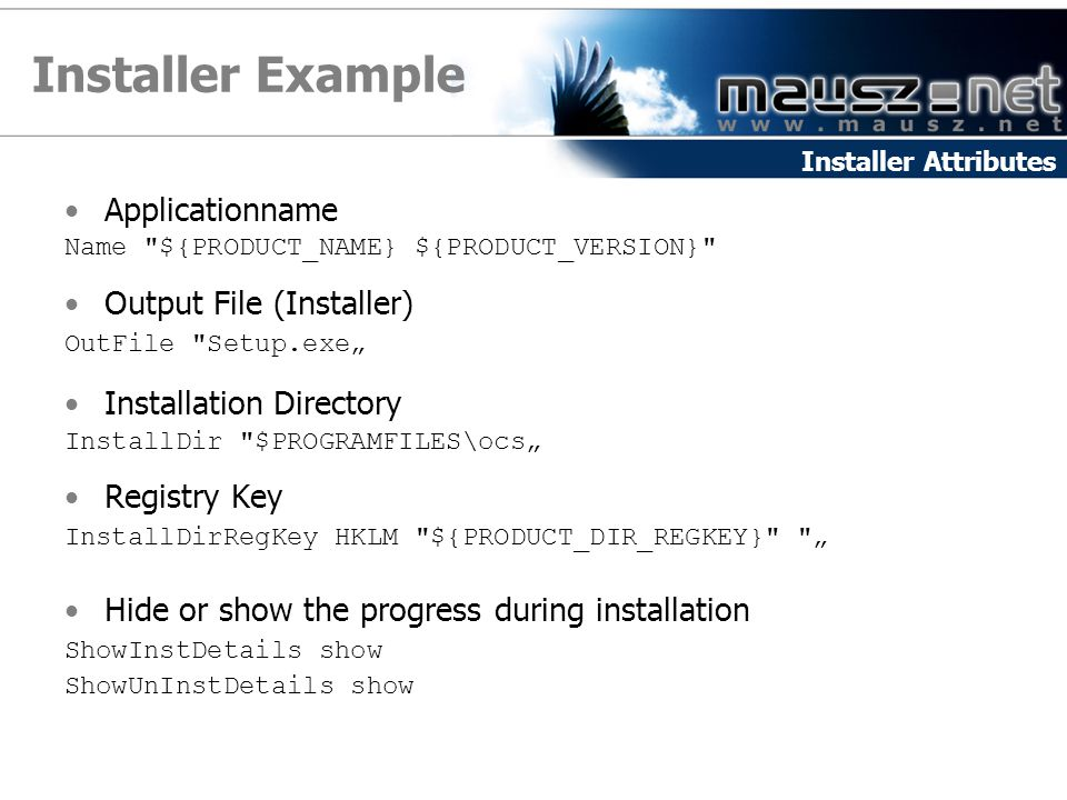 Installer Example Applicationname Output File (Installer)