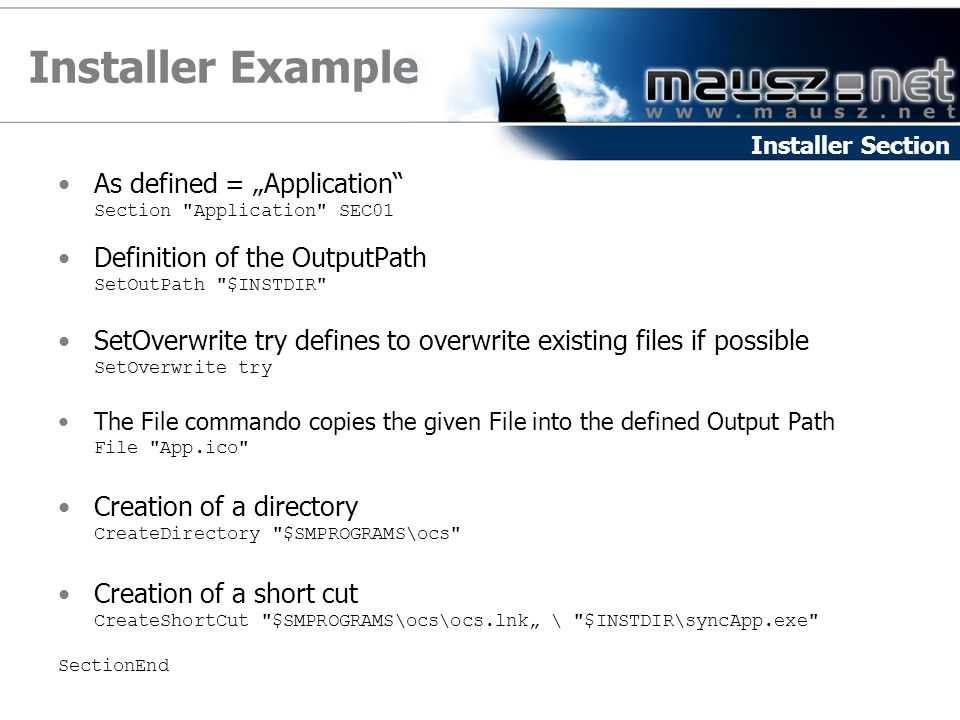 "Installer Example As defined = ""Application"