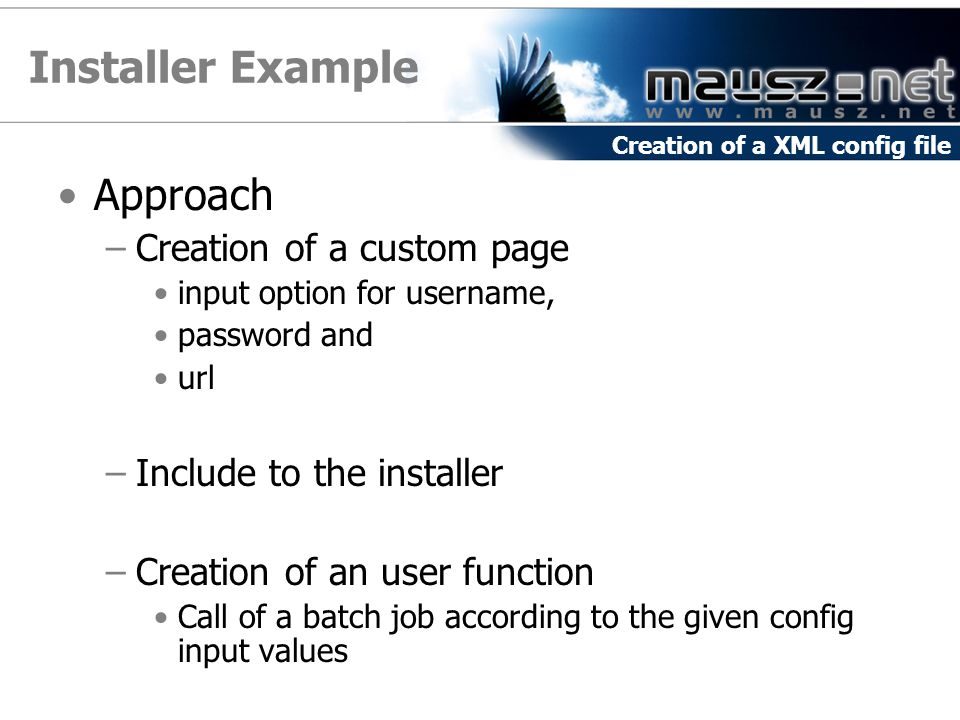 Installer Example Approach Creation of a custom page