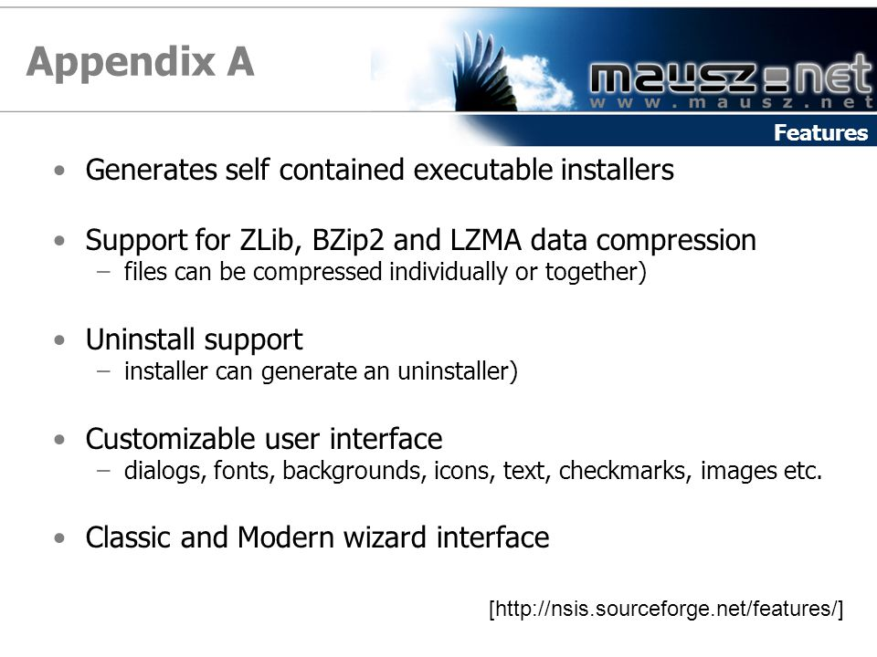 Appendix A Generates self contained executable installers