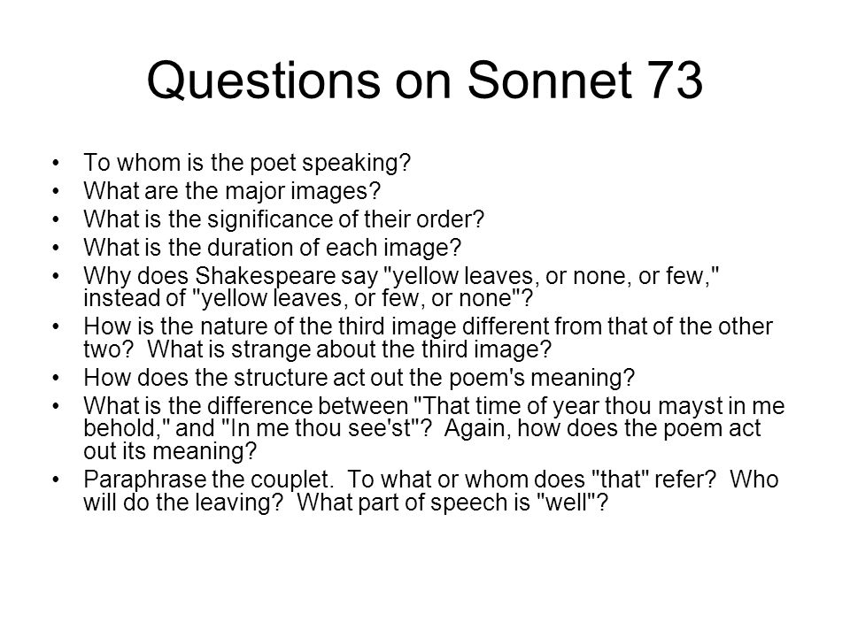 shakespeare s sonnets ppt video online  questions on sonnet 73 to whom is the poet speaking