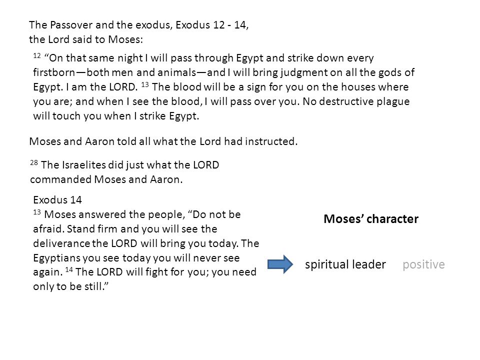 Moses' character spiritual leader positive