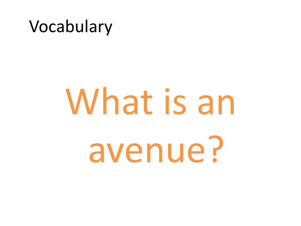 Vocabulary What is an avenue