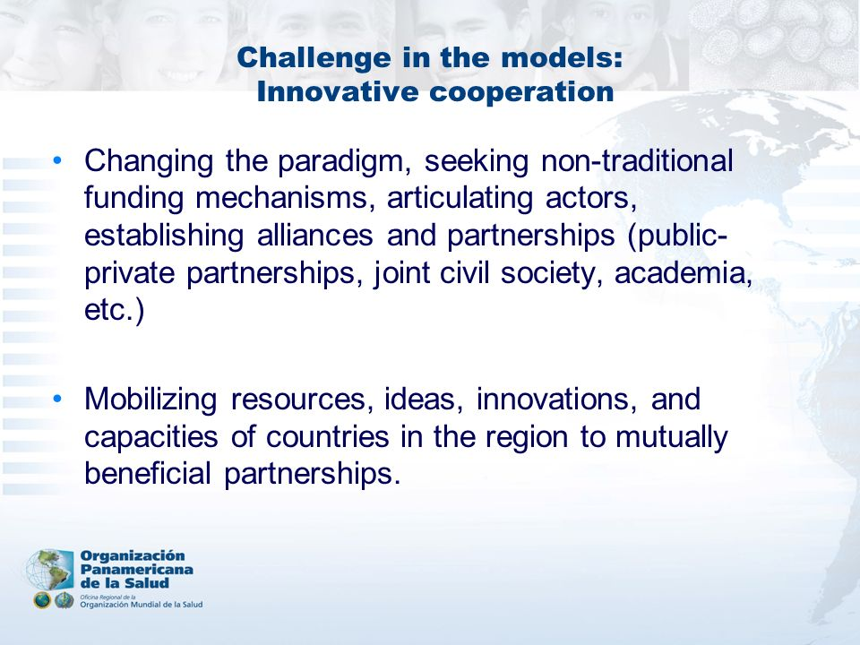 Challenge in the models: Innovative cooperation