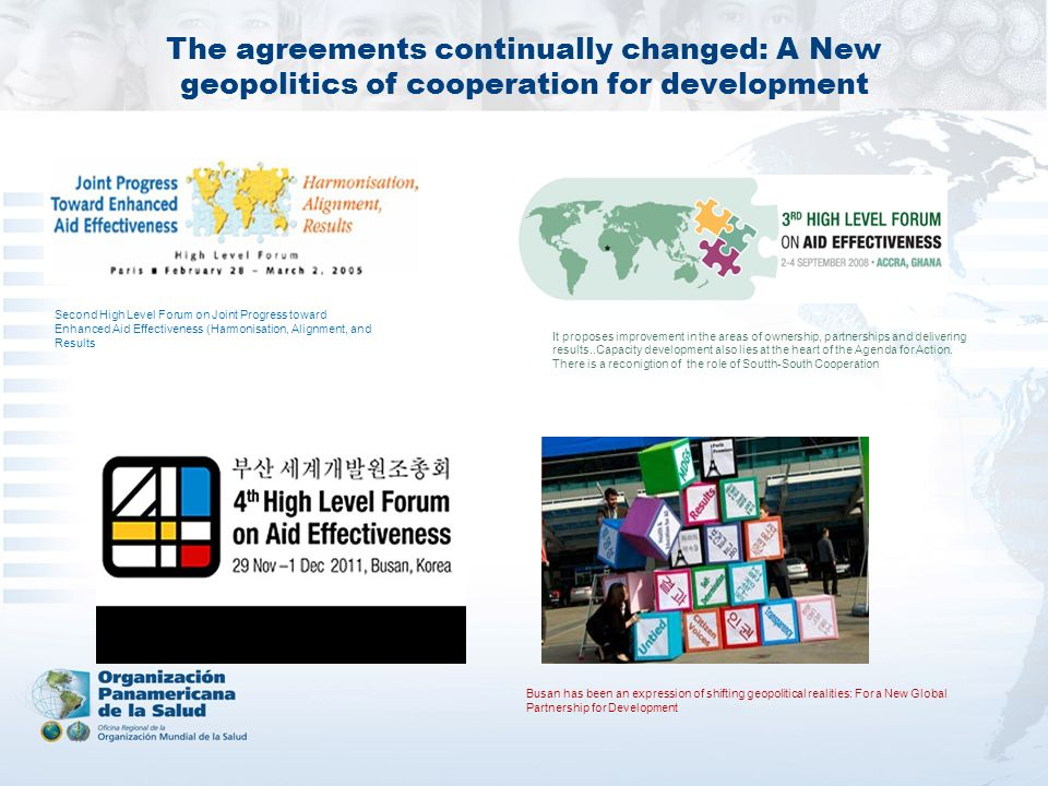 The agreements continually changed: A New geopolitics of cooperation for development
