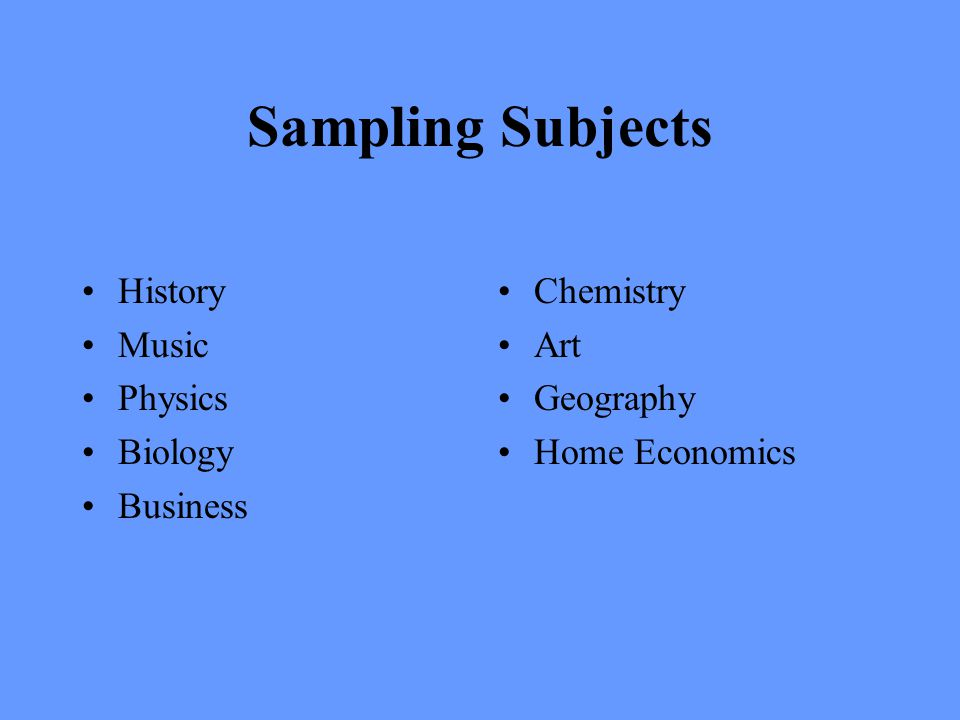 Sampling Subjects History Music Physics Biology Business Chemistry Art