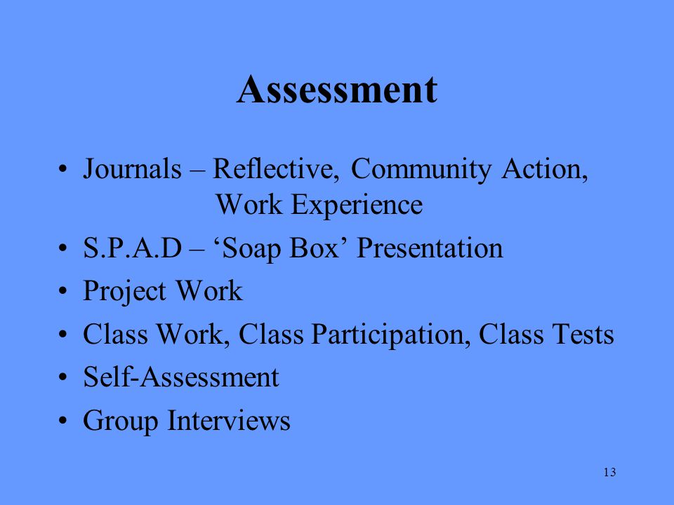 Assessment Journals – Reflective, Community Action, Work Experience