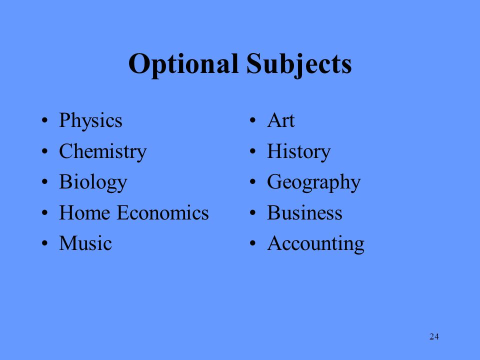 Optional Subjects Physics Chemistry Biology Home Economics Music Art