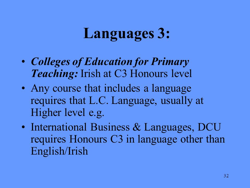 Languages 3: Colleges of Education for Primary Teaching: Irish at C3 Honours level.