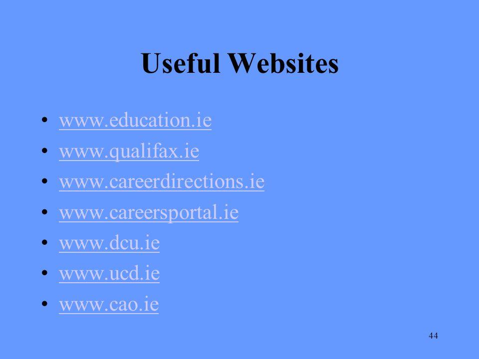 Useful Websites www.education.ie www.qualifax.ie
