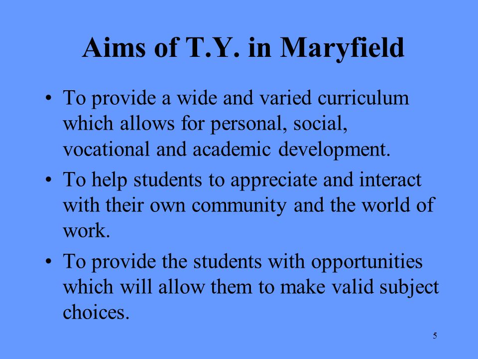 Aims of T.Y. in Maryfield To provide a wide and varied curriculum which allows for personal, social, vocational and academic development.