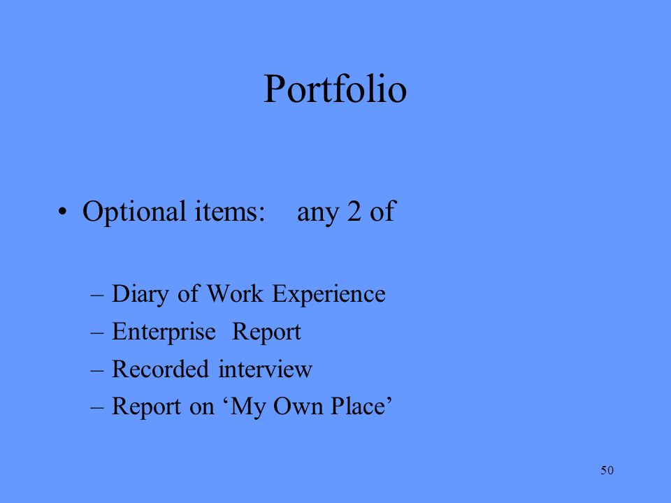 Portfolio Optional items: any 2 of Diary of Work Experience