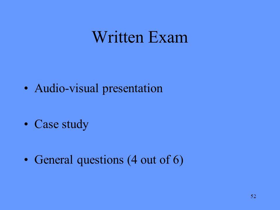 Written Exam Audio-visual presentation Case study