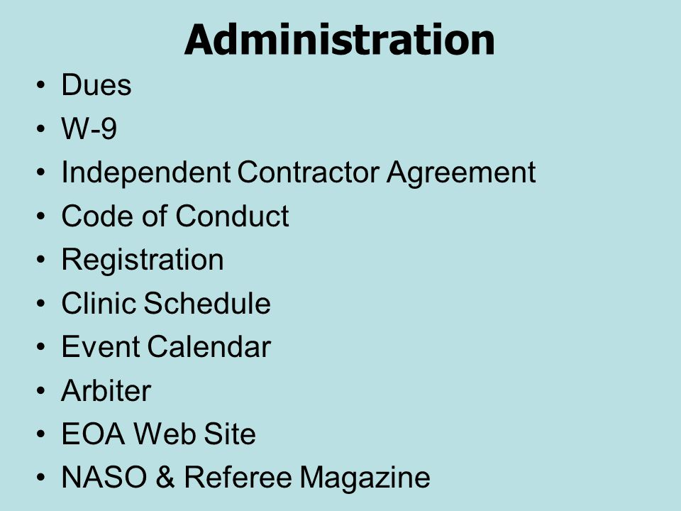 Administration Dues W-9 Independent Contractor Agreement