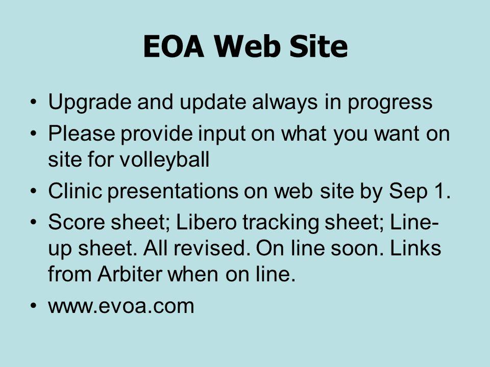 EOA Web Site Upgrade and update always in progress