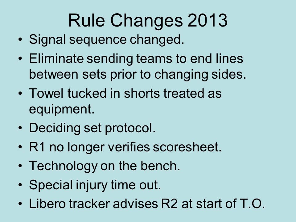 Rule Changes 2013 Signal sequence changed.