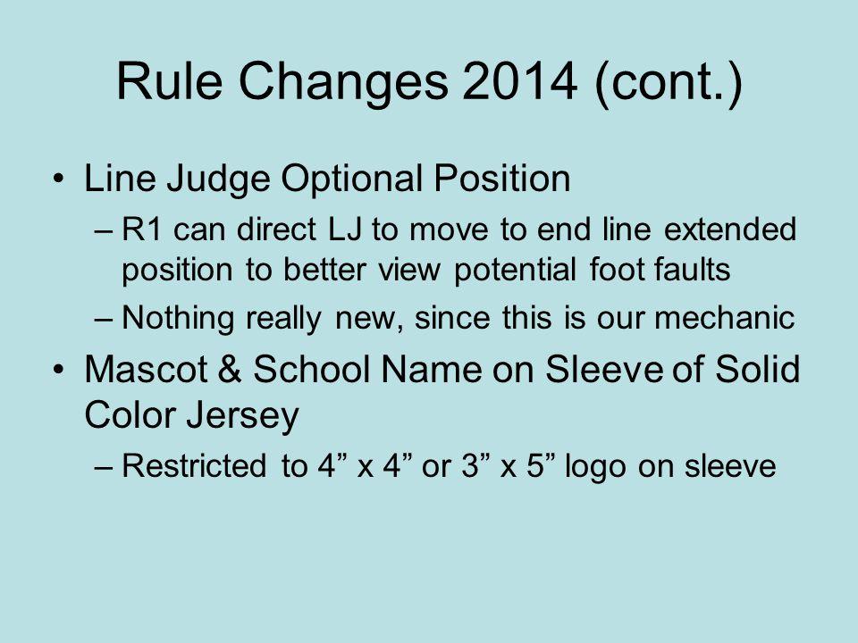 Rule Changes 2014 (cont.) Line Judge Optional Position