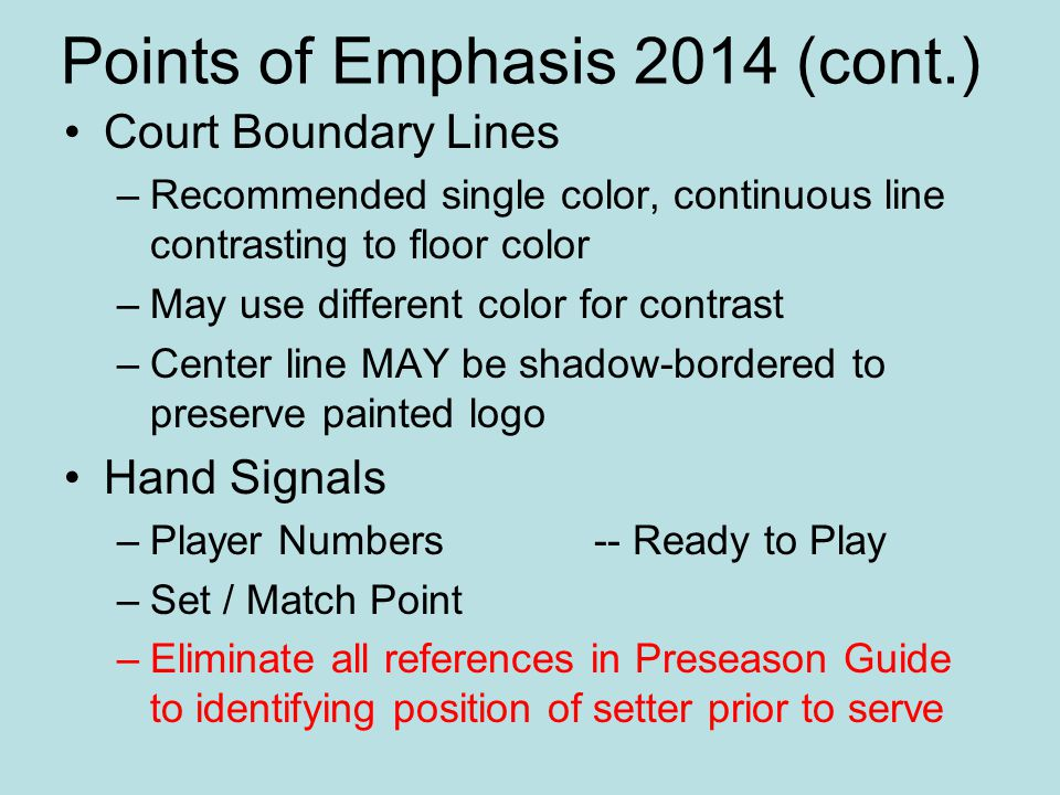 Points of Emphasis 2014 (cont.)