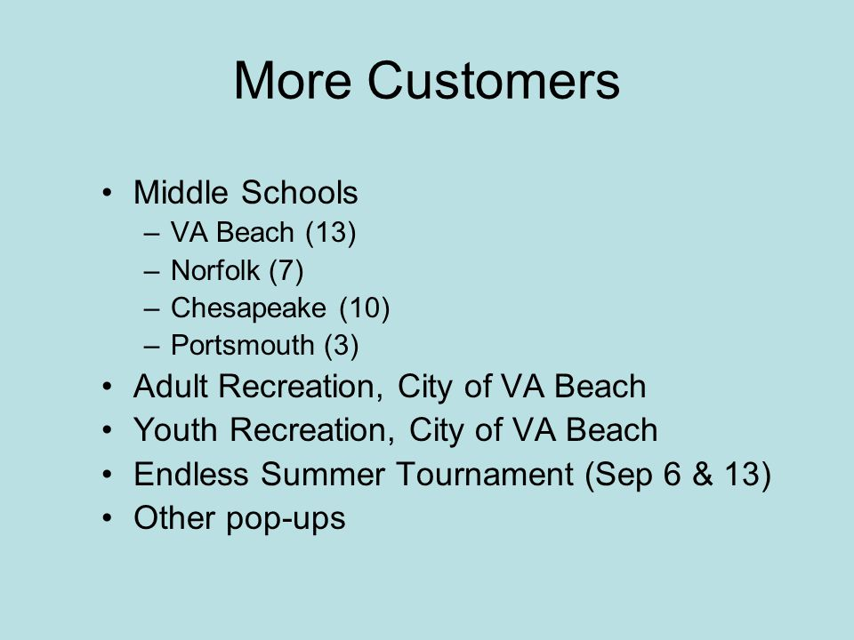 More Customers Middle Schools Adult Recreation, City of VA Beach