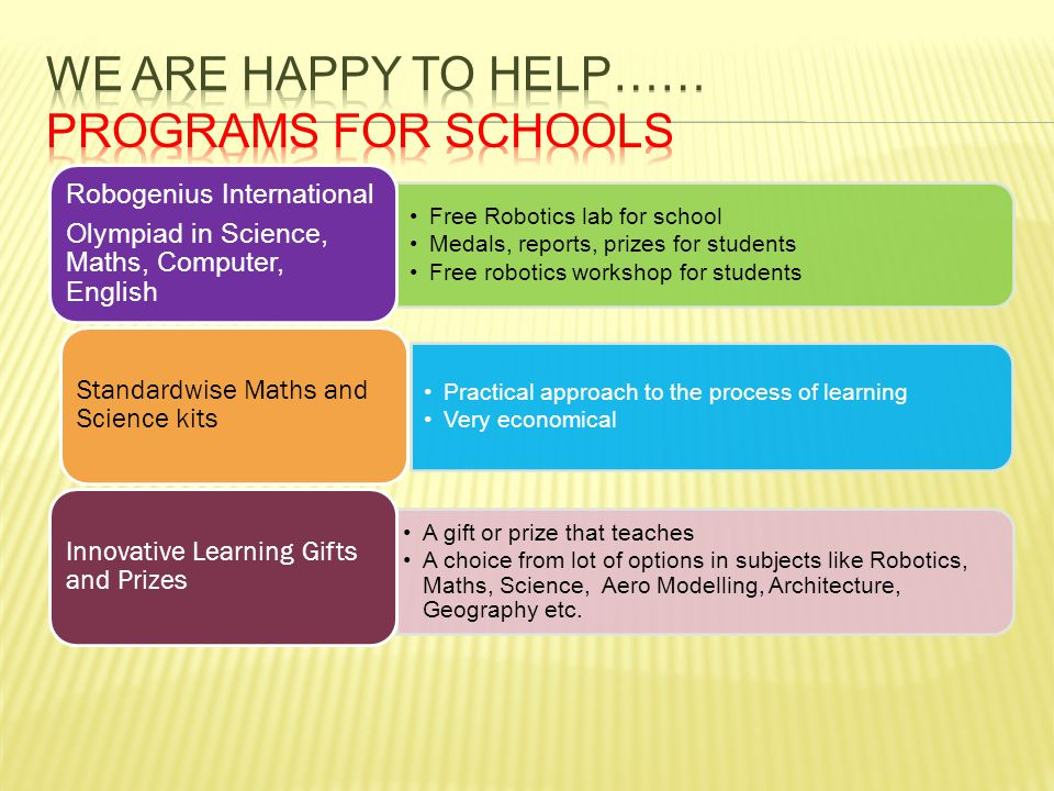 We are happy to help…… Programs for schools