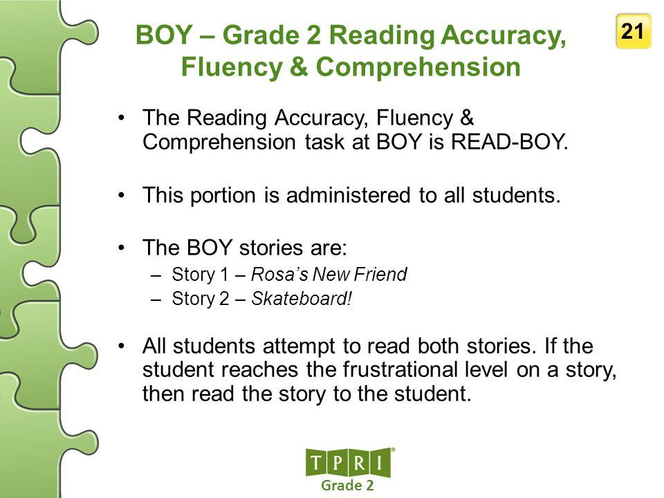 BOY – Grade 2 Reading Accuracy, Fluency & Comprehension