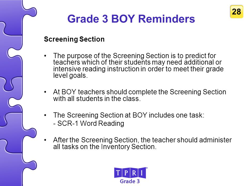 Grade 3 BOY Reminders Screening Section