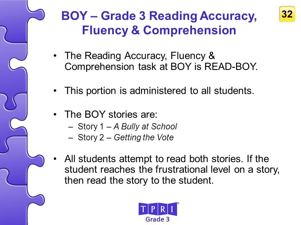 BOY – Grade 3 Reading Accuracy, Fluency & Comprehension