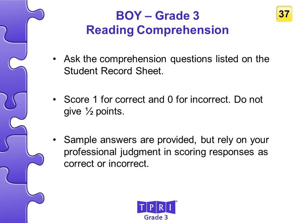 BOY – Grade 3 Reading Comprehension