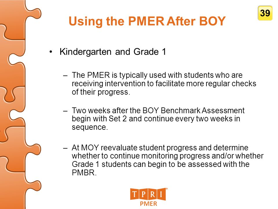 Using the PMER After BOY