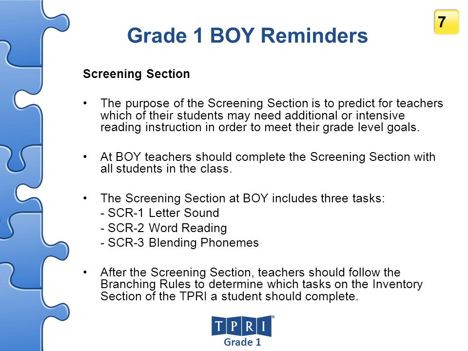 Grade 1 BOY Reminders Screening Section