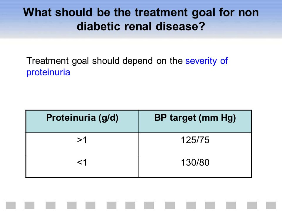 What should be the treatment goal for non diabetic renal disease